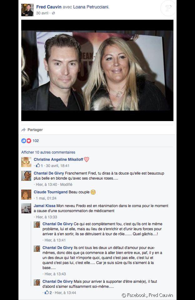 Un commentaire posté sur la page de Fred Cauvin sème un vent de panique. Mai 2016.