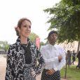 Céline Dion et son styliste Law Roach-Défilé Giambattista Valli (collection haute couture automne-hiver 2016-2017)au Grand Palais. Paris, le 4 juillet 2016.