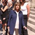 Chantal Goya- Obsèques du comédien et parolier Roger Dumas en l'église Saint-Roch à Paris le 7 juillet 2016.