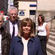 Jean-Jacques Debout et sa femme Chantal Goya- Obsèques du comédien et parolier Roger Dumas en l'église Saint-Roch à Paris le 7 juillet 2016.