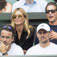 Heidi Klum et son compagnon Vito Schnabel dans les tribunes du tournoi de tennis de Wimbledon le 8 juillet 2016. © Ray Tang/London News Pictures via ZUMA Wire / Bestimage