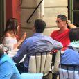 Cristiano Ronaldo déjeune au Costes avec une charmante inconnue, à Paris, jeudi 7 juillet 2016.