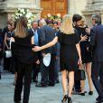 Isabella Borromeo, son mari Ugo Brachetti Peretti et sa soeur Matilde, Carlo Borromeo aux obsèques de Marta Marzotto en l'église Sant'Angelo à Milan le 1er août 2016