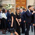 Isabella Borromeo, son mari Ugo Brachetti Peretti et sa soeur Matilde, Carlo Borromeo et Beatrice Borromeo aux obsèques de Marta Marzotto en l'église Sant'Angelo à Milan le 1er août 2016