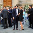 Paola Marzotto et son fils Carlo Borromeo aux obsèques de Marta Marzotto en l'église Sant'Angelo à Milan le 1er août 2016