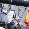 Le roi Felipe VI d'Espagne à bord du voilier Aifos lors de la Copa del Rey à Majorque, le 6 août 2016. En raison du contexte politique qui l'a obligé à retourner à Madrid pendant ses vacances, le souverain espagnol a moins eu l'occasion que d'habitude de barrer le bateau de la Marine espagnole lors de ses vacances à Palma de Majorque.