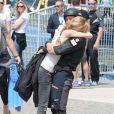 Beatrice Borromeo avec son mari Pierre Casiraghi lors de la première étape du GC32 Racing Tour qu'il disputait en mai 2016 sur le Lac de Garde à bord du catamaran monégasque Malizia.