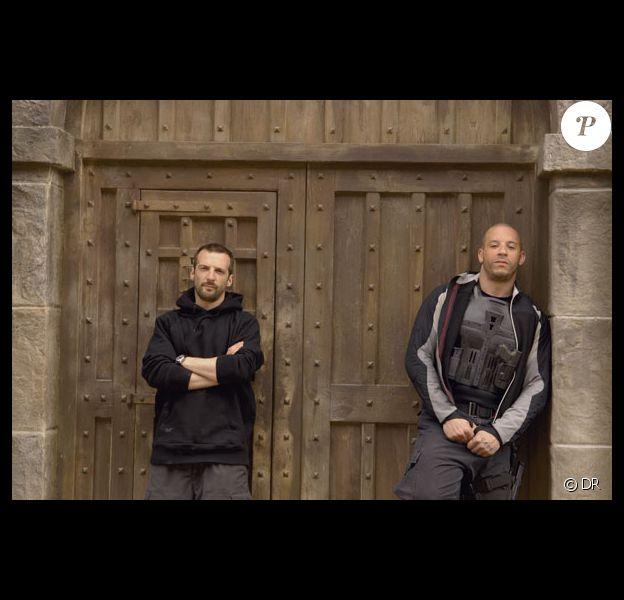 """Mathieu Kassovitz et Vin Diesel sur le tournage du film """"Babylon A.D."""" en 2008"""