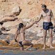 Exclusif - David Guetta et sa compagne Jessica Ledon en vacances à Ibiza, le 28 juillet 2016