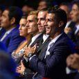 Cristiano Ronaldo, Gareth Bale et Antoine Griezmann lors du tirage au sort de l'UEFA Champions League à Monaco, le 25 août 2016. © Bruno Bebert/Bestimage