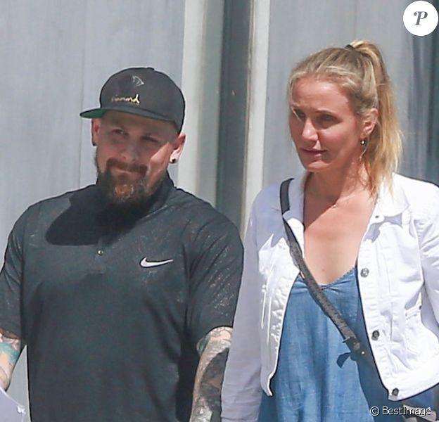 Exclusif - Cameron Diaz et son mari Benji Madden vont faire du shopping à Hollywood le 13 août 2016.