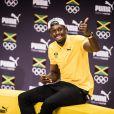 Usain Bolt lors d'une conférence de presse pendant les Jeux Olympiques (JO) de Rio 2016, à Rio de Janeiro, le 8 août 2016.