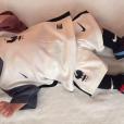 Tom, le fils d'Ingrid Chauvin, porte les couleurs de l'équipe de France de football pour la grande finale de l'Euro 2016. Le 10 juillet 2016.
