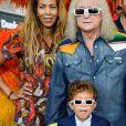 Michel Polnareff, sa compagne Danyellah et leur fils Louka - Le chanteur français Michel Polnareff fête son 72ème anniversaire en présence des danseuses du Moulin-Rouge et donne le départ de la deuxième étape de la 103ème édition de la course cycliste du tour de France le 3 Juillet 2016, entre Saint-Lo et Cherbourg-en-Cotentin, en Normandie. © Coadic Guirec