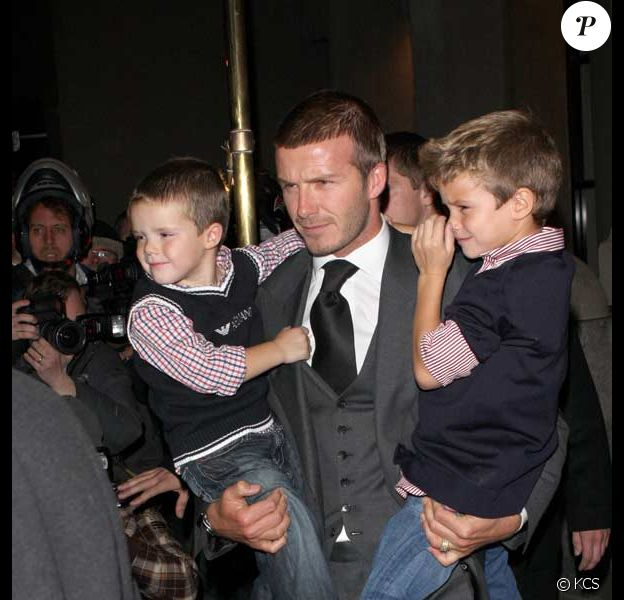 David Beckham super papa avec Cruz et Brooklyn