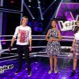 """Nora, Marco et Victoire dans """"The Voice Kids 3"""" le 24 septembre 2016 sur TF1."""