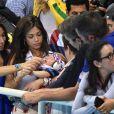 Nicole Johnson, la fiancée de Michael Phelps avec Boomer à Rio de Janeiro le 13 août 2016
