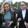 """Diane Kruger sortant du défilé de mode """"Elie Saab"""", collection prêt-à-porter Printemps-Eté 2017 à Paris, le 1er octobre 2016"""