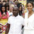 """Melvin Odoom et Rochelle Humes - Arrivées des membres du jury de l'émission """"X-factor"""" aux auditions à Londres. Le 21 juillet 2015."""