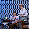 """Pascal Elbé et Barbara Schulz pendant le filage de la pièce """"L'Éveil du chameau"""" au Théâtre de l'Atelier à Paris, le 30 septembre 2016. © Guirec Coadic/Bestimage"""