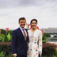 Le prince Frederik et la princesse Mary de Danemark posant à Washington avec le Congrès en arrière-plan le 27 septembre 2016 à l'entame de leur mission économique aux Etats-Unis. © Instagram Kongehuset (Cour royale de Danemark)