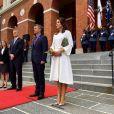Le prince Frederik et la princesse Mary de Danemark posant à Boston avec le Gouverneur du Massachusetts le 28 septembre 2016 lors de leur mission économique aux Etats-Unis. © Instagram Kongehuset (Cour royale de Danemark)