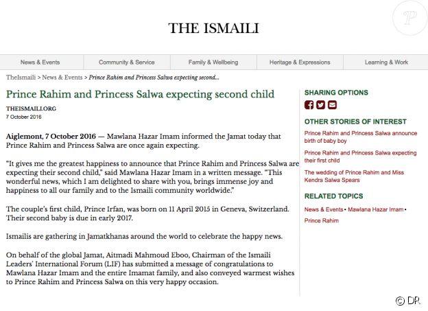 Capture d'écran du site The Ismaili, qui a officiellement annoncé la deuxième grossesse de la princesse Salwa le 8 octobre 2016