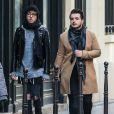 """Exclusif - Le chanteur Olympe (de son vrai nom Joffrey Boulanger), révélé par la saison 2 de """"The Voice"""" et son mari le blogueur mode Julien Van Der Drisch à Paris, le 5 mars 2016."""