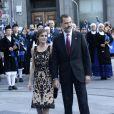 Le roi Felipe VI et la reine Letizia d'Espagne - Remise des prix Princesse des Asturies en présence du roi Felipe VI, La reine Letizia et de Sofia au théâtre Campoamor à Oviedo, Espagne, le 21 octobre 2016.
