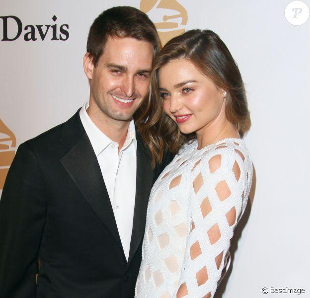Miranda Kerr et son compagnon Evan Spiegel - Soirée de Gala Clive Davis Pre-Grammy à l'hôtel Hilton de Beverly Hills le 14 février 2016.