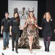 Clio Pajczer défile dans une robe crée par la styliste Elise Martimort et chocolatée par Hasnaa Ferreira au 22ème salon du chocolat à la porte de Versailles à Paris le 27 octobre 2016. (coiffures Franck Provost / maquillages Make Up For Ever) © Veeren-Perusseau/Bestimage