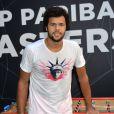 Jo-Wilfried Tsonga s'entraîne lors du Bnp Paribas Masters à l'Accor Hotels Arena à Paris le 29 octobre 2016.