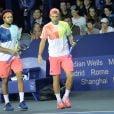 Jo-Wilfried Tsonga et Lucas Pouille lors du Bnp Paribas Masters à l'Accor Hotels Arena à Paris le 1er novembre 2016.