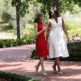 La reine d'Espagne Letizia reçoit Michelle Obama au palais de la Zarzuela à Madrid, le 30 juin 2016.