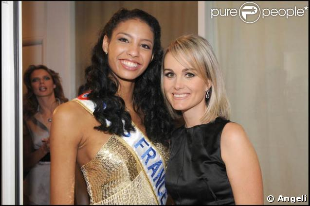 Laeticia Hallyday et Miss France 2009 au Grand Journal, le 8/12/08