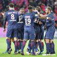 La joie après le but d'Adrien Rabiot lors du match opposant le Paris Saint Germain au Stade Rennais (victoire 4-0 du PSG), à Paris au Parc des Princes le 6 novembre 2016.