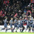Joie sur le but d'Edinson Cavanilors du match opposant le Paris Saint Germain au Stade Rennais (victoire 4-0 du PSG), à Paris au Parc des Princes le 6 novembre 2016.