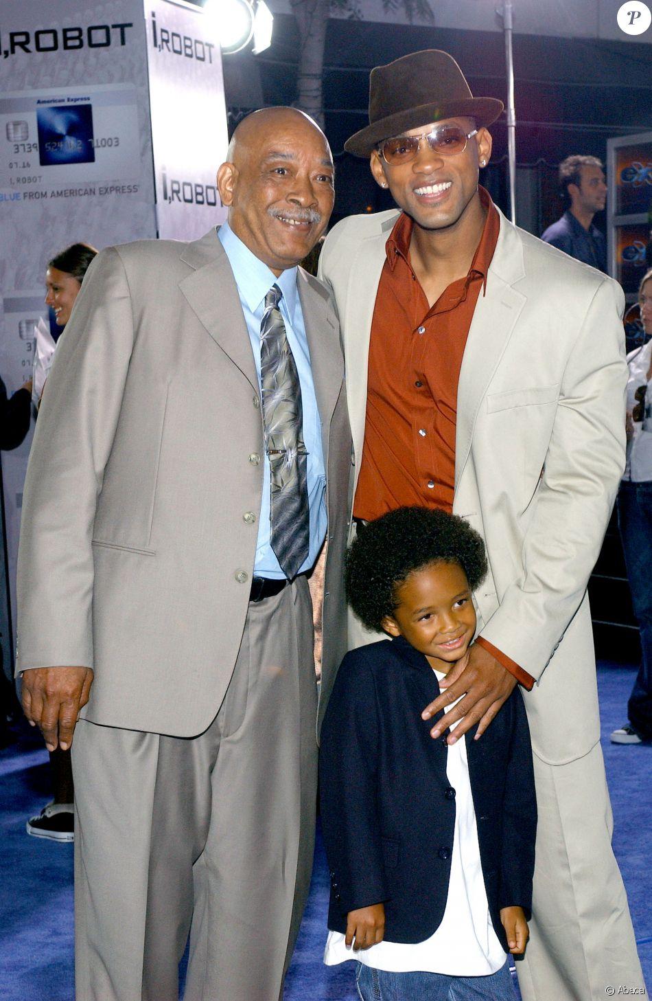 Will Smith avec son père et son fils Trey à Los Angeles le 7 juillet 2004.