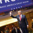 Donald Trump et sa fille Ivanka Trump lors de sa déclaration de candidature à l'investiture républicaine pour la présidentielle de 2016 pendant une conférence à New York, le 16 juin 2015.