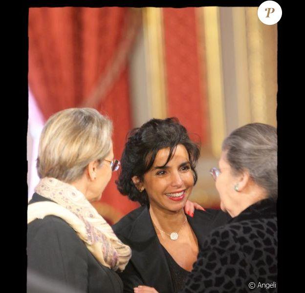 Rachida Dati à l'Elysée avec Michèle Alliot-Marie et Simone Veil