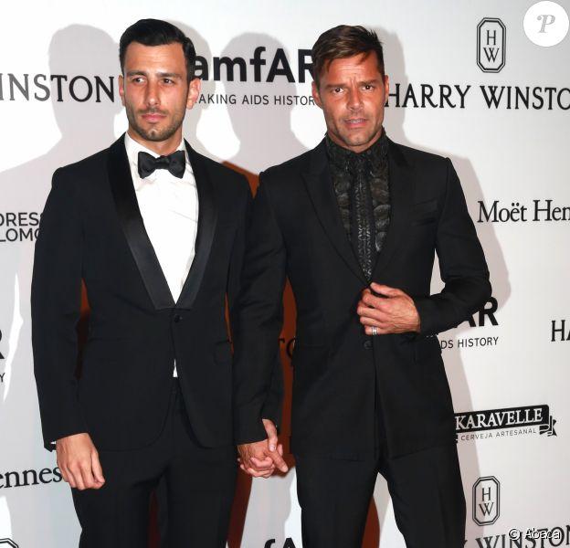 Jwan Yosef et Ricky Martin au gala amfAR au Brésil, le 15 avril 2016