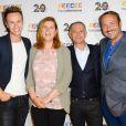 Cyril Féraud, Samuel Etienne et Vincent Ferniot au photocall de France Télévisions, pour la présentation de la nouvelle dynamique 2016-2017, à Paris, le 29 juin 2016.