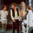 Mark Hamill, Harrison Ford, Peter Mayhew et Carrie Fisher dans Star Wars - Episode IV Un nouvel espoir en 1977