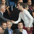 Didier Deschamps, Louis Sarkozy - People au match de Ligue des champions Psg contre Arsenal au Parc des Princes à Paris le 13 septembre 2016. © Cyril Moreau/Bestimage