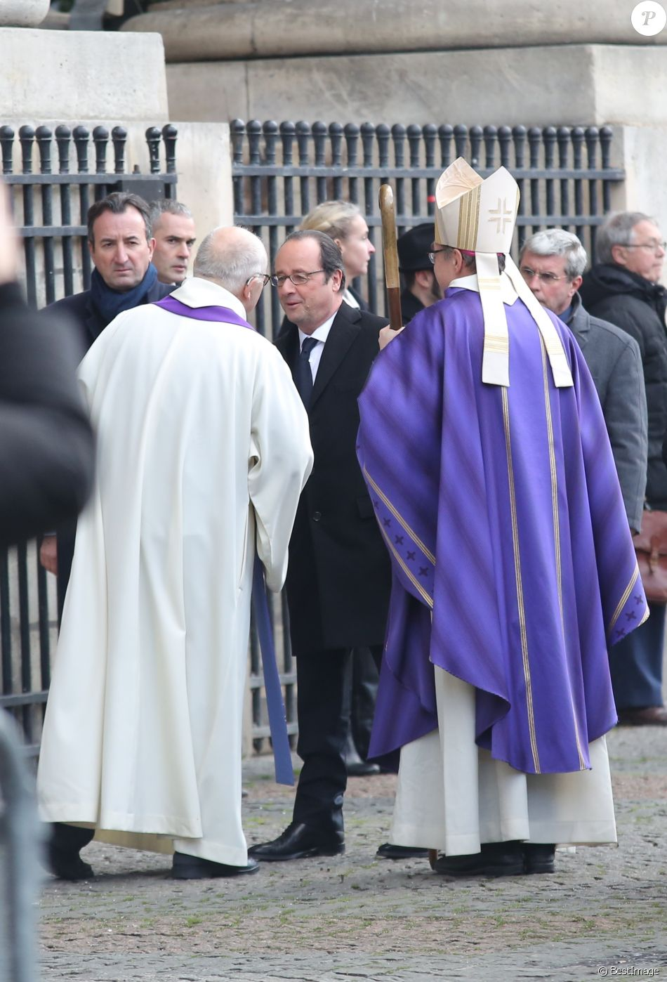 François Hollande, président de la République - Obsèques de François Chérèque, ancien secrétaire général de la CFDT en l'église Saint-Sulpice, Place Saint-Sulpice à Paris, le 5 janvier 2017.