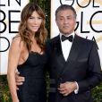 Sylvester Stallone et Jennifer Flavin lors des Golden Globe Awards au Beverly Hilton, Beverly Hills, Los Angeles, le 8 janveir 2017.
