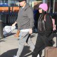 Rob Kardashian et Blac Chyna arrivant à l'aéroport  JFK de New York le 15 janvier 2017.