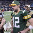 Aaron Rodgers des Green Bay Packers interviewé par Erin Andrews après la victoire de son équipe contre les Dallas Cowboys au AT&T Stadium à Arlington au Texas le 15 janvier 2017.