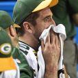Aaron Rodgers des Green Bay Packers lors de la défaite des siens contre les Falcons d'Atlanta le 22 janvier 2017 en finale de conférence NFL.