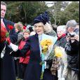 Camilla Parker-Bowles à la sortie de la messe de Noël de la famille royale UK